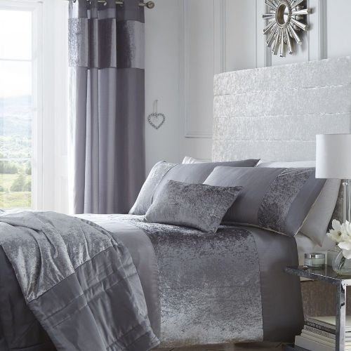 DOVE GREY SILVER STYLISH SOFT CRUSHED VELVET DUVET QUILT COVER SET LUXURY BEAUTIFUL BEDDING